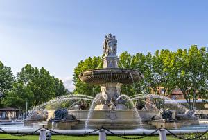 Обои Франция Фонтаны Скульптуры Львы Брызги Aix Provence Города картинки