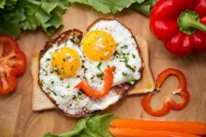 Фотографии Яичница Завтрак Улыбка Пища