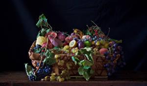 Фотографии Фрукты Виноград Ягоды Корзины Ветки Продукты питания