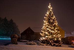 Обои Германия Рождество Зимние Здания Снег Ночь Новогодняя ёлка Электрическая гирлянда Oberlausitz Города