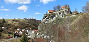 Обои Германия Дома Бавария Скала Burgberg Города картинки
