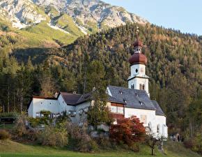 Фотография Германия Горы Леса Осень Церковь Benefizialkirche hl. Martin, Forest Grace Природа