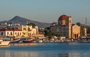 Фотография Греция Остров Монастырь Море Лодки Причалы Corfu, Aegean sea, Monastery Of Theotokou Города