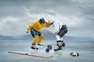 Картинки Хоккей Две Униформа Сражение Каток спортивный