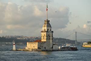 Фото Стамбул Турция Башня Maiden Tower Kiz Kulesi, Bosphorus Города