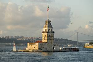 Фото Стамбул Турция Башни Maiden Tower Kiz Kulesi, Bosphorus город
