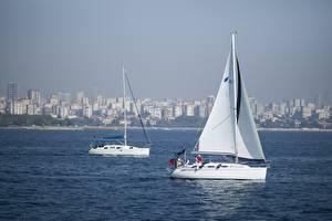 Фотографии Стамбул Турция Яхта Парусные Два