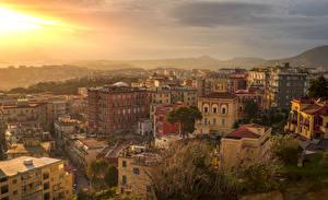 Фотографии Италия Дома Рассветы и закаты Крыша Napoli