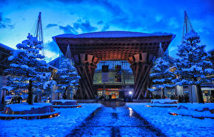 Фотография Япония Токио Здания Зимние Вечер Снег Деревья Города