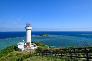 Обои Маяки Берег Япония Море Ограда