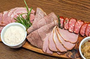Фотография Мясные продукты Колбаса Ветчина Доски Нарезка