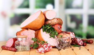 Картинка Мясные продукты Колбаса Специи Банки