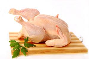 Фотографии Мясные продукты Курятина Белый фон Разделочная доска Еда