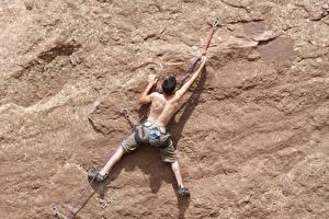 Картинки Мужчины Альпенизм Скала Спина Альпенист Спорт