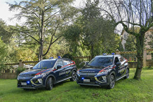 Обои для рабочего стола Мицубиси Стайлинг Две Синяя Металлик Полицейский 2018 Eclipse Cross Carabinieri Автомобили