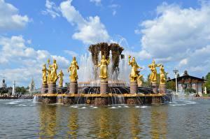 Обои Москва Россия Фонтан Скульптуры VDNH, Fountain Of Friendship Of Peoples