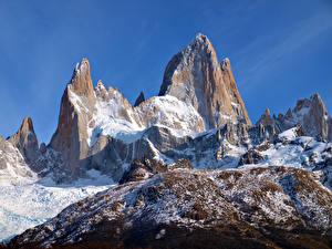 Фото Гора Аргентина Снеге Утес Patagonia, Cerro Chaltén Природа