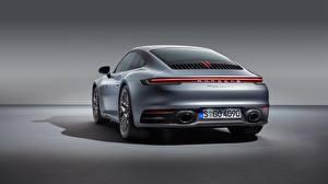 Обои Porsche Вид сзади Серебряный 911 Carrera 4S 2019 Автомобили