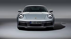 Фото Порше Спереди Серебристый 911 Carrera 4S 2019 Машины