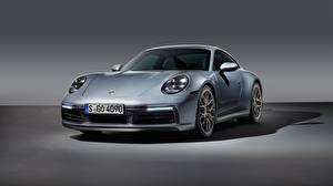 Фотографии Porsche Серебристый Спереди 911 Carrera 4S 2019 Автомобили