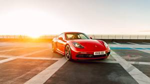 Обои Порше Красный Cayman GTS 718 2019 Машины