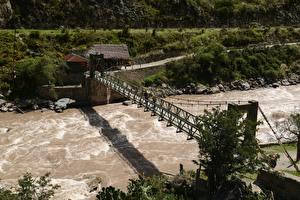 Картинки Речка Мосты Перу Inca Trail, Machu Picchu, Andes