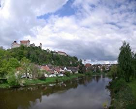 Картинки Речка Германия Здания river Kocher, Schwäbisch Hall, land of Baden-württemberg