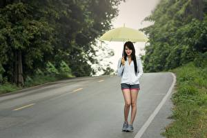 Картинка Дороги Азиаты Асфальта Гуляет Брюнеток Зонт Девушки