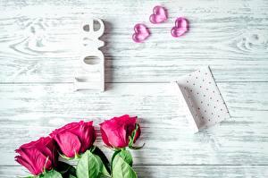Картинка Розы День святого Валентина Сердечко Доски Цветы