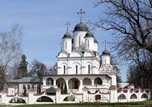Обои Россия Церковь Ветки Купол Крест Moscow region, Church Of The Transfiguration, Large Binders Города