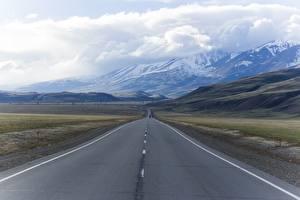 Обои Россия Дороги Горы Пейзаж Асфальт Облака mountain Altai Природа