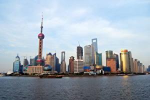 Картинка Шанхай Китай Небоскребы Города