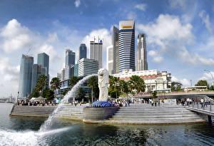 Фотография Сингапур Небоскребы Фонтаны Merlion Park
