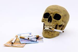 Картинка Черепа Купюры Деньги Евро Сигарета Белый фон