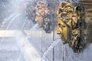 Фото Санкт-Петербург Россия Фонтаны Голова Брызги Peterhof Города