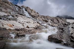 Фотография Камень Горы Утес Ручей