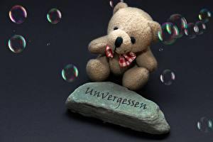 Фотографии Камень Плюшевый мишка Мыльные пузыри Сидит Бантик Немецкий Unvergessen