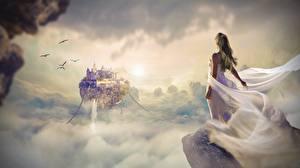 Обои Рассветы и закаты Замки Платье Облака Утес Фантастика Девушки