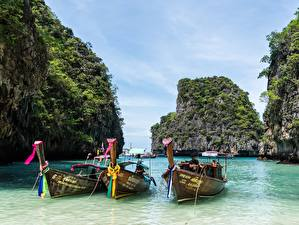 Фотография Таиланд Остров Лодки Азиаты Утес The Island Of Phi Phi, Phuket Природа