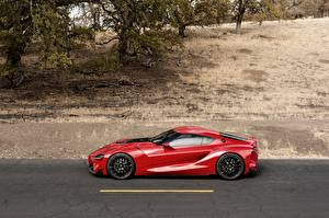 Картинки Тойота Сбоку Красный 2014 FT-1 Concept Автомобили
