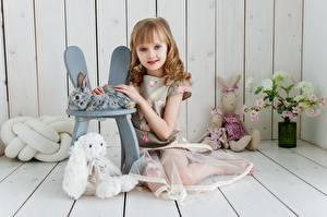 Фотография Игрушки Доски Девочка Сидящие Дети