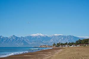 Картинка Турция Берег Курорты Горы Пляж Antalya Природа