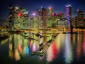 Фотографии США Здания Причалы Чикаго город Залив Ночные