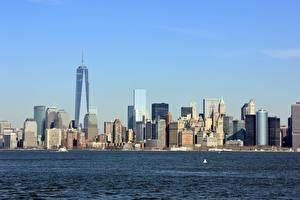 Обои Штаты Небоскребы Нью-Йорк Манхэттен Hudson Города