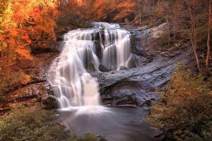Обои США Водопады Осень Tennessee Природа картинки