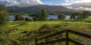Фотография Великобритания Реки Луга Ограда Деревья Cumbria Природа