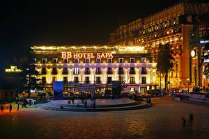 Картинка Вьетнам Здания Городская площадь Ночные Lao Cai Города