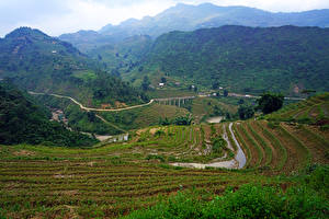 Обои Вьетнам Горы Поля Дороги Muong Hoa Valley Природа