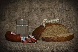 Обои Водка Колбаса Хлеб Стакан Колосок Нарезанные продукты Еда