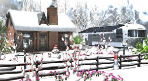 Картинка Зима Здания Крокусы Снег Ограда Снеговики 3D Графика